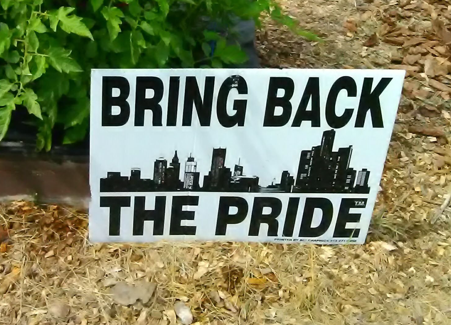 "Sign at community garden stating ""bring back the pride"""